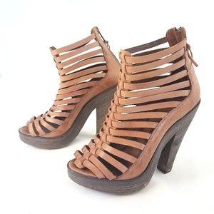 Joie Escapade Strappy Platform Sandals sz 37.5 Tan